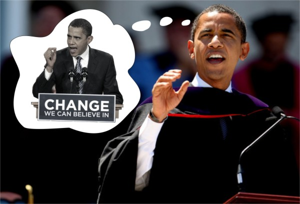 Obama urges graduates to hearken back to his campaign of 2008