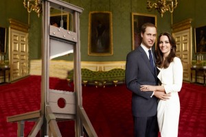 Kate and William Pose with their Guillotine