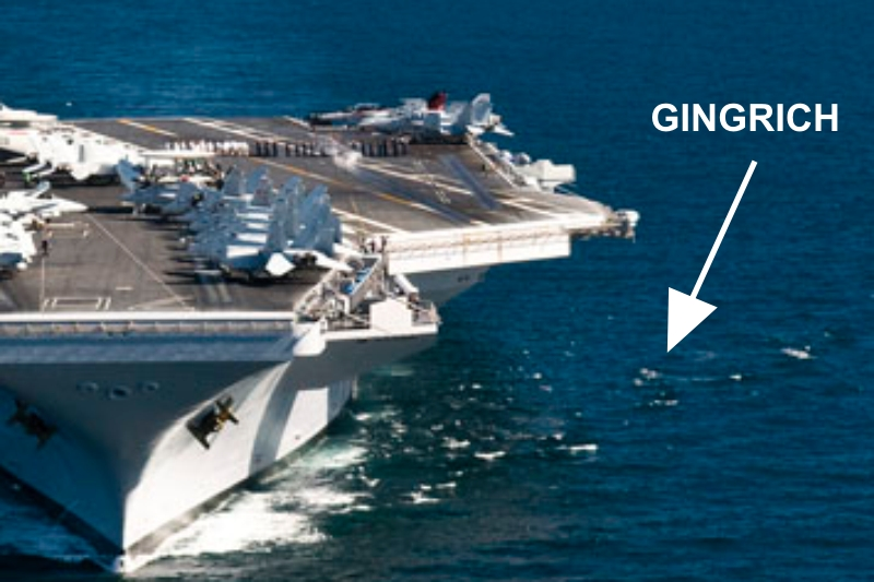Newt Gingrich was lowered into the sea today from the side of the USS Ronald Reagan.