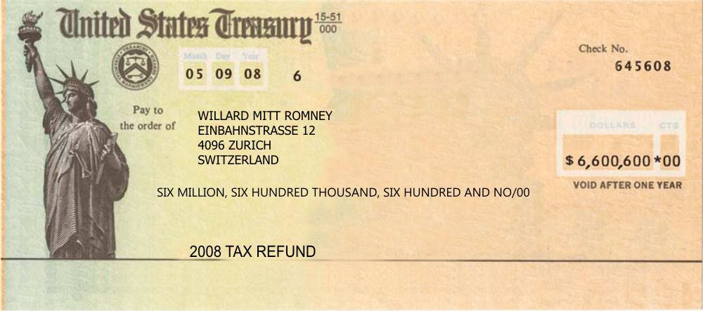 Romney Gets Tax Refund From IRS