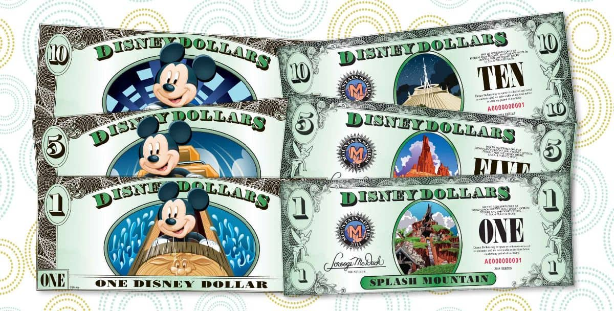 """New Disney Dollars have been released just in time for holiday stocking stuffing. A new """"Disney mountains"""" series of Disney Dollars is now available with three new designs featuring Splash Mountain, Big Thunder Mountain Railroad and Space Mountain on the $1, $5 and $10 bills, respectively. A limited supply will be sold at select locations throughout Walt Disney World and Disneyland Resorts, including all Guest Relations locations, Walt Disney World Resort and Disneyland Resort hotels and the World of Disney store at Downtown Disney in both California and Florida. Walt Disney World Resort is located in Lake Buena Vista, Fla., and Disneyland Resort is located in Anaheim, Calif. (Disney)"""