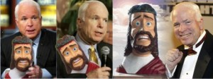 John McCain with his takling Jesus head