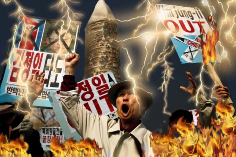 North Korean Protestors Struck by Lightning