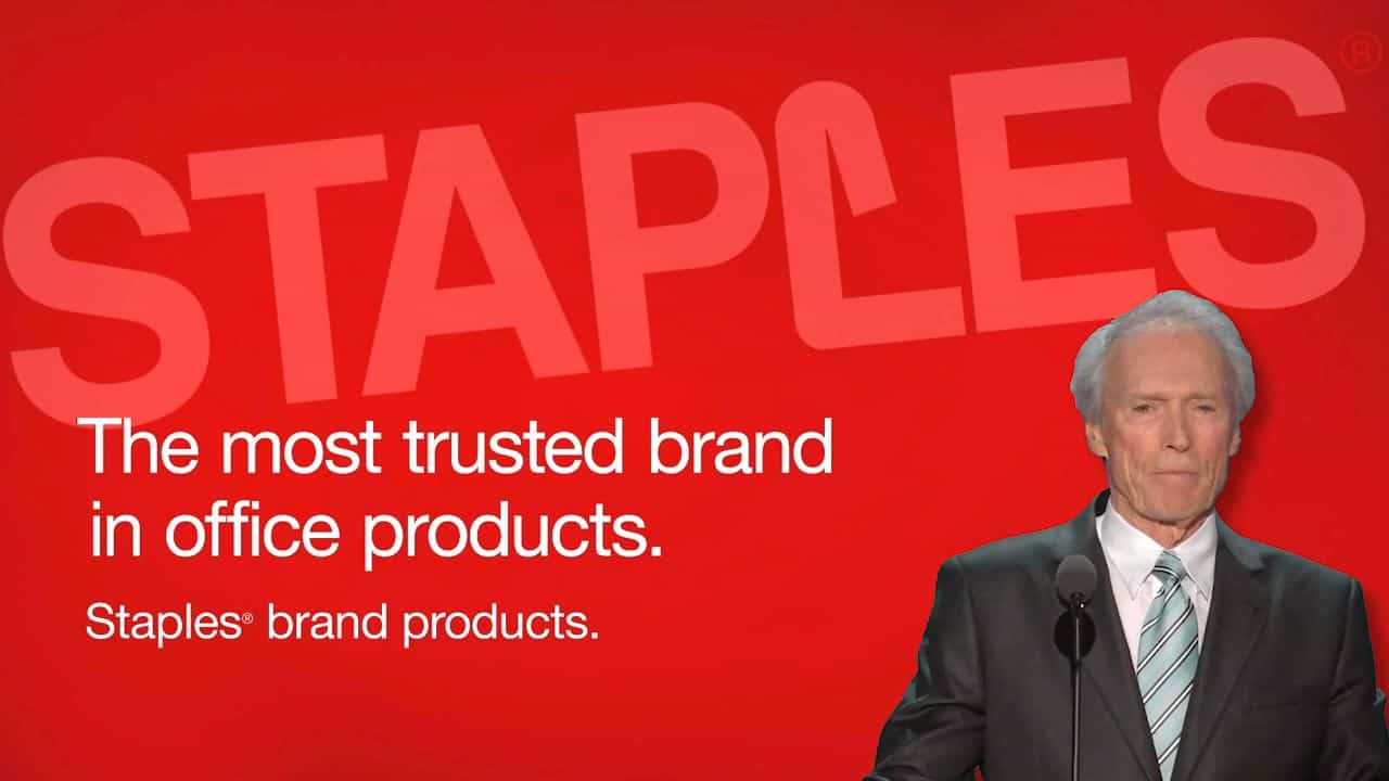Clint Eastwood Promotes Staples